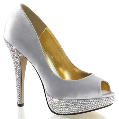 Heels Lolita Slv besetzte High 35 Pumps Satin Peeptoe Plateau Fabulicious 41 Silber sexy Strass Satin 02 xIwBfqgdAg