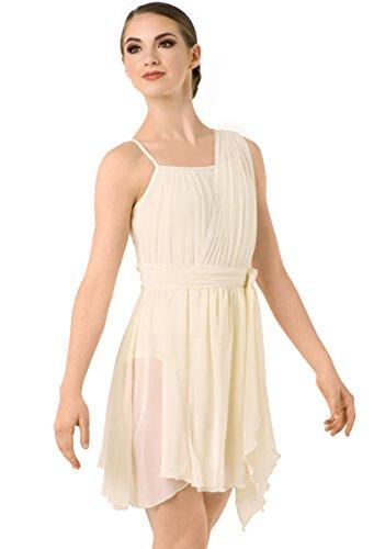 Balera Dress Girls Costume For Dance One Shoulder Tie Waist Dress With Briefs Ivory Child Medium