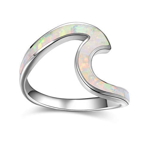 (Bamos Minimalism 925 Sterling Silver Opal Wave Ring for Girls Daily Wear(White Opal 7))