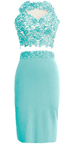 MACloth Gorgeous 2 Piece Jersey Cocktail Dress Short Prom Homecoming Formal Gown Menta
