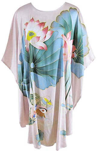 Ledamon Women's 100% Silk Short Robe Nightgowns Batwing Sleeved Nightwear Sleepwear Pajama -Classic Handpainted (Light Pink)
