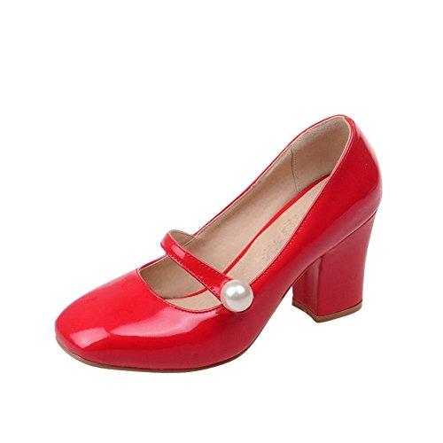 Latasa Women's Fashion Bead Square-toe Chunky High Heel Mary Jane