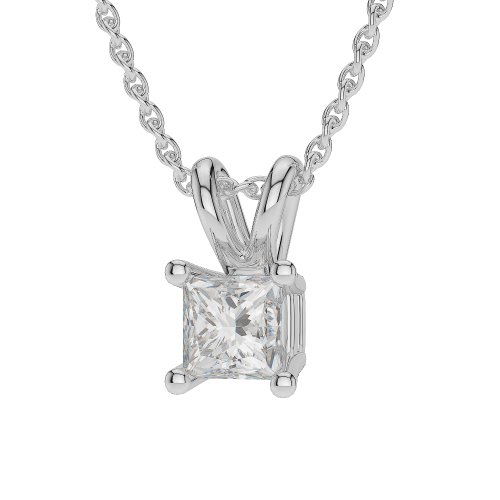 Or blanc/or/Rose/Jaune/Or/Platine 0,20 ct - Collier Femme - diamant solitaire forme Princesse agdnc-1007-vsgh