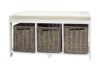 Panca Contenitore Legno : Rebecca srl panca panchina contenitore 3 cesti legno vimini bianco
