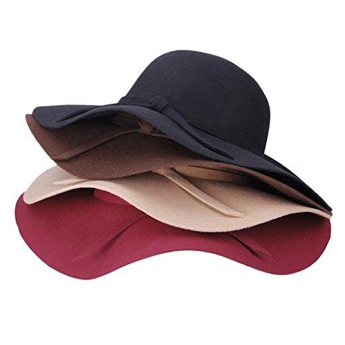 DIS-Diva, con fiocchetto, tesa larga, in feltro di lana, a Cloche Floppy Hat, Tessuto, Nero