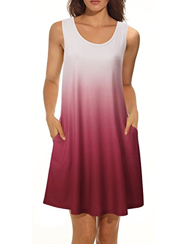 Vivilli Women's Tunic Fashion Womens Sleeveless Tops Work Clothes for Women Office Tie Dye Print Swing Short Ombre Tank Dress Floral Loose T Shirts Dress Wine Medium