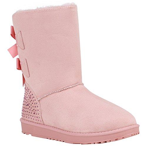 2405cdeb7081b4 Damen Schlupfstiefel Warm Gefütterte Stiefel Schleifen Ketten Nieten Print  Schuhe Blumen Pailletten Winter Boots Flandell Rosa