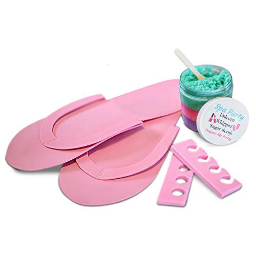 (Spa Party Supplies For Girls Sleepover Birthday Includes Pedicure Flip Flops, Unicorn Whipped Sugar Scrub, and Toe Separators)
