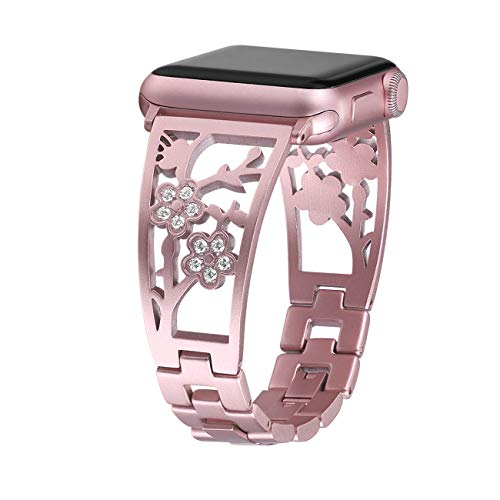 Mtozon Bling Bracelets Compatible Apple Watch Band 38mm/40mm iwatch Bands Series 4/3/2/1, Women Stainless Steel Dressy Jewelry Bangle Wristband, Rose Gold