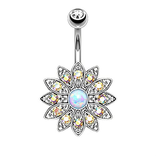 BodyJ4You 1-2PCS Created-Opal Flower Belly Button Ring Aurora Jeweled Piercing Bar