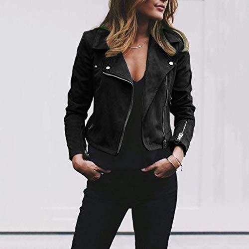 Leather Zipper Autumn Jacket ShallGood Short Stylish Outwear Coat Casual Rivet Overcoat Jacket Vintage Parka Black Coat Bomber Up Retro Long Womens Fashion Sleeve Winter xXwHqR4X8