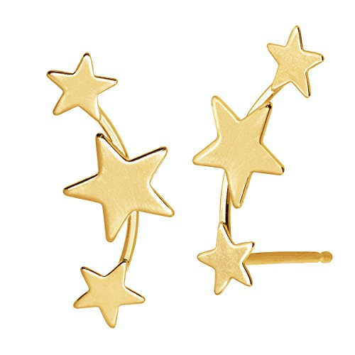 (Eternity Gold Three-Star Ear Climber Stud Earrings in 14K Gold)