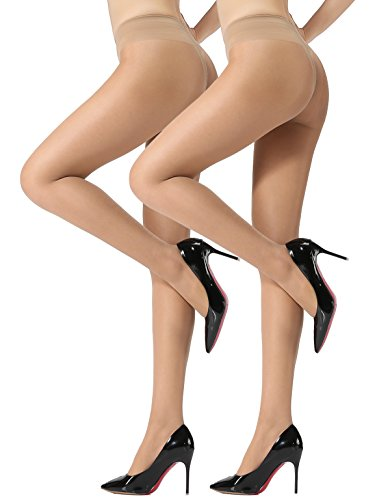 HONENNA Women's 40 Den Silky Sheer Reinforced T Crotch Pantyhose Tights (Medium, Nude, 2 Pairs) (Womens Nude Opaque Pantyhose)