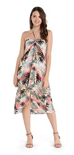Women's Hawaiian Luau Halter Floral Print Halter Dress L Pastel Neon -