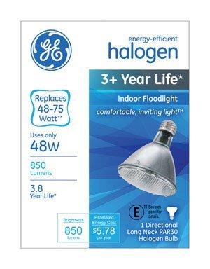 ergy-Efficient Halogen 48-Watt (75-watt replacement) 850-Lumen PAR30 longneck Floodlight Bulb with Medium Base, 1-Pack ()