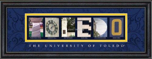 Prints Charming Letter Art Framed Print, U of Toledo-Toledo, Bold Color - Toledo In Mall