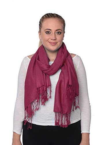 Pashmina Silk Blend Soft Wrap Scarf Shawl For Women 30 Solid Colors Magenta