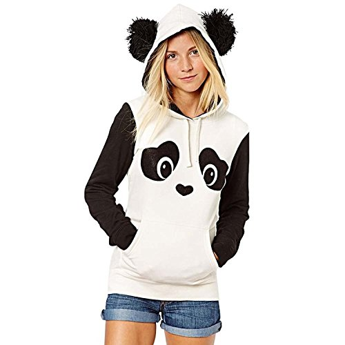 Yiwa Women Cute Panda Print White and Black Fleece Hoodie - Vegas Mall Fashion