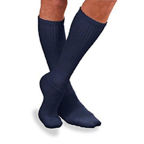 (SensiFoot Knee length Diabetic Sock, Navy, Extra Large)