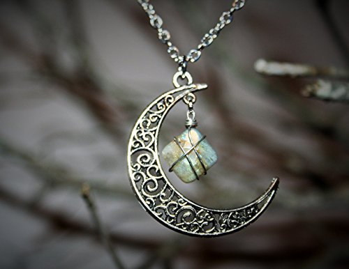 Ethereal Earth Wire Wrapped Labradorite and Moon -- Wiccan Jewelry - Wiccan Power Stone - Opalescent Hand Wire Wrapped Stone