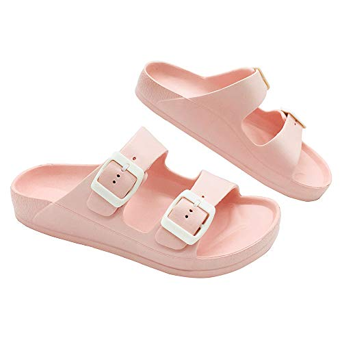 (LUFFYMOMO Adjustable Slip on Eva Double Buckle Slides for Womens Mens (7 B (M) US Women / (Insole Length) 9.64 inch, Pink) ...)