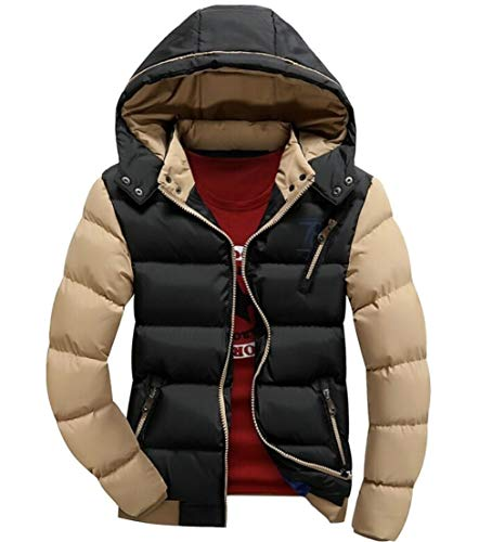 Black Winter Warm with Men's Padded Thicken Down Cotton Coats TTYLLMAO Hood pO7qwx