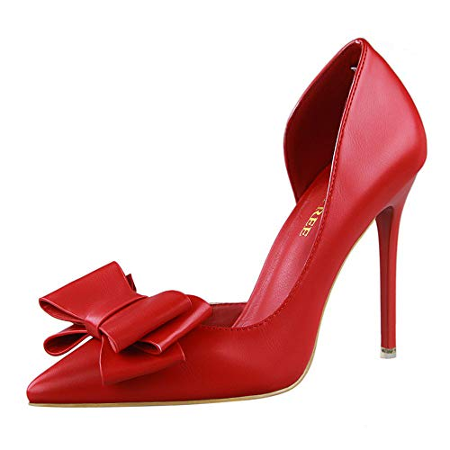 (HHei_K Womens Fashion Solid Sweet Bowknot Sexy Stilettos High Heels Shoes Casual Pointed Toe Pumps Shoes Single Shoes Red )