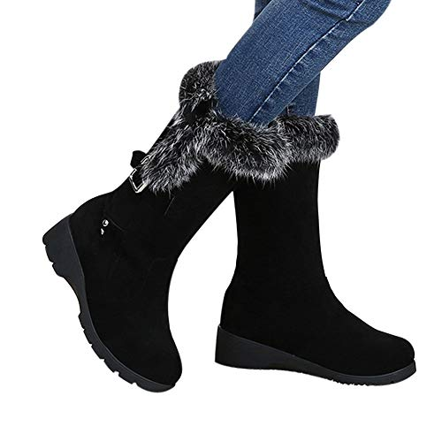 Clearance Farjing Women Ankle Boots Buckle Plus Velvet Platform Winter Warm Snow Boots(US:5.5,Black)