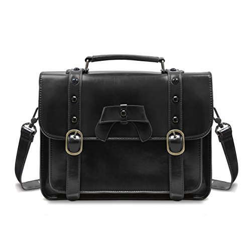ECOSUSI Vintage Crossbody Messenger Bag Satchel Purse Handbag Briefcase for Women & Girl, Black from ECOSUSI