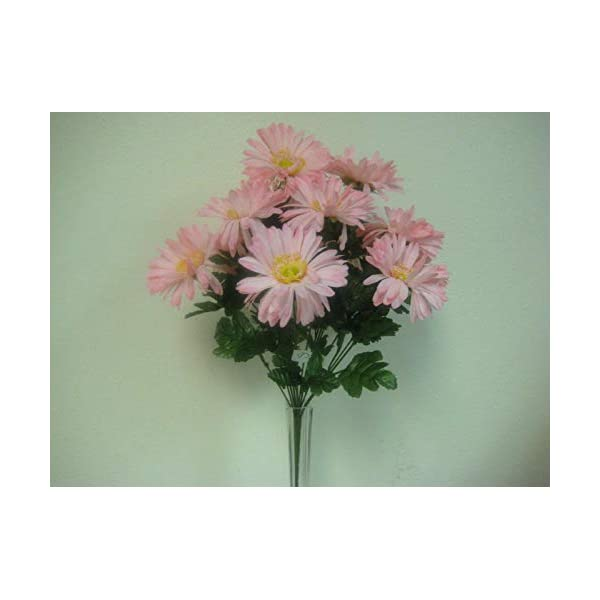 JumpingLight Pink Gerbera Daisy Bush Artificial Silk Flowers 1 x 12 Bouquet 586PK Artificial Flowers Wedding Party Centerpieces Arrangements Bouquets Supplies