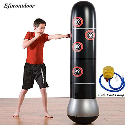 Eforoutdoor Inflatable Kids Punching Bag, Free Standing Boxing Bag for Immediate Bounce-Back 5.25ft for Practicing Karate, Taekwondo, MMA Suitable for Kids and Adults (Age 4+)