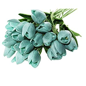 Winterworm PU Latex Real Touch Artificial Mini Cute PU Tulip Flower Wedding Bridal's Bouquets Wedding Home Table Decoration (Blue Green)