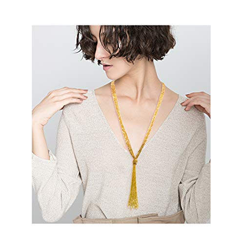 VUJANTIRY Women's Sequin Beaded Long Necklace Multistrand Lariat Pendant Necklace Knot Y Tassel Necklace (Sequin/Gold) ()