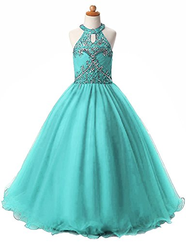 Price comparison product image HEIMO Long Beading Ball Gown Formal Party Dress Flower Girl Halter Sequins Pageant Dresses H193 12 Turquoise