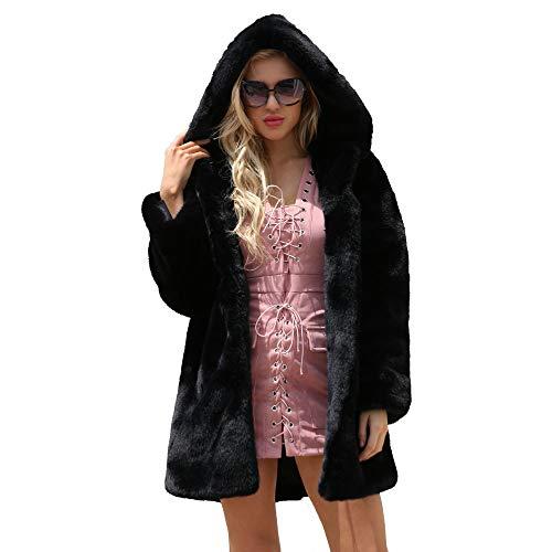 Fourrure Fausse Femme d'hiver Veste Manteau avec Bringbring Parka Capuche Chaud Noir IHUIqw