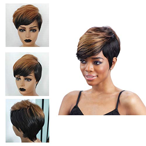 - Ladies Women Wigs,RNTOP Short Natural Synthetic Hair Wigs Synthetic Short Black Red Pixie Cut Wig Heat Resistant Fiber Hair for Black Women (B)