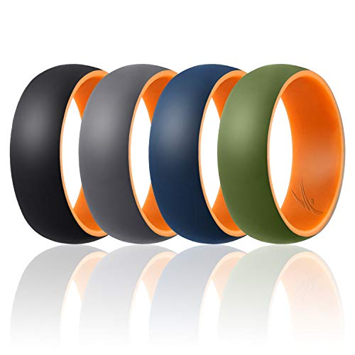 ROQ Silicone Wedding Ring for Men - Duo Collection Dome Style - 4 Pack Silicone Rubber Wedding Bands - Classic Design - Orange, Black, Grey, Blue, Olive Colors - Size - Silicone Duo
