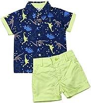 CIYCUIT Toddler Baby Boys Shorts Set Short Sleeve Button Down Shirt + Shorts Pants 2 Pieces Summer Print Cloth
