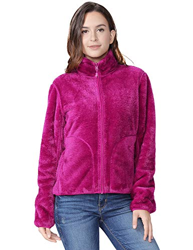 (Fleece Jacket Women Soft Reversible Polar Fleece Full Zip Jackets Leisure Outdoor Lapel Fashion Cardigan Coat Sweatshirts Purple XXL)