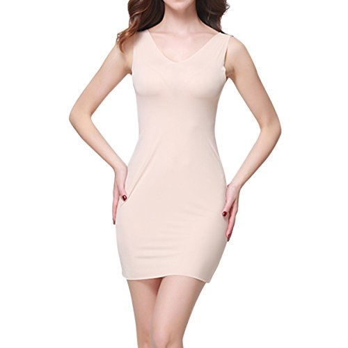 SJINC Women's Full Slip Short Seamless V Neck Stretch Semi-Sheer Sleepwear Dress,Light Nude,Tag size XL=US size - Slip Stretch Sheer