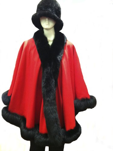 Cashmere Pashmina Group: Cashmere Cape with genuine Fox Fur Trim all around (Lipstick Red/ Black) by Cashmere Pashmina Group (Image #3)