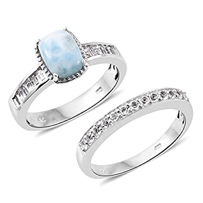925 Sterling Silver Cushion Larimar, White Topaz Set of 2 Ring from Shop LC