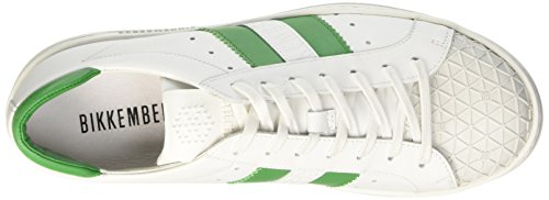 Bikkembergs Bounce 588 L.Shoe M Leather, Men's Flatform Pumps Bianco (White/Green)