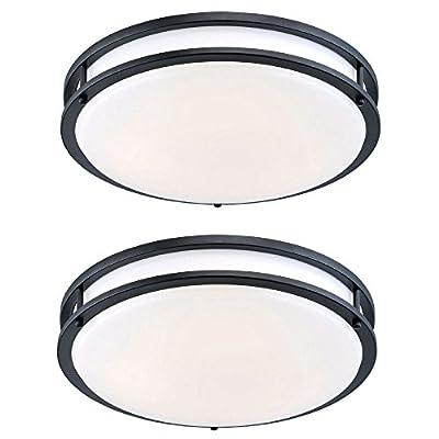 "Designers Fountain EV1412L30-34D-2 12"" Oil Rubbed Bronze/White Low-Profile LED Ceiling Light (2 Pack)"