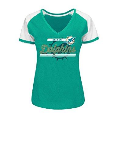 NFL Miami Dolphins Women's Primed To Play Program Short Sleeve Raglan V-Neck (Miami Dolphins Golf Shirt)