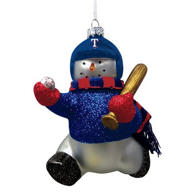 MLB Blown Glass Snowman Player Ornament MLB Team: Texas Rangers