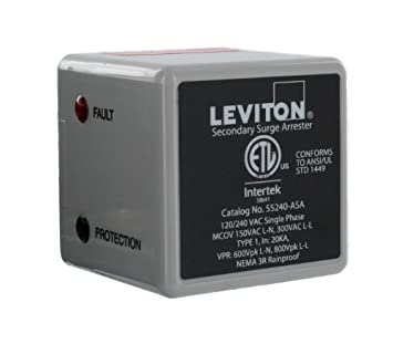 Leviton 55240-ASA 55000 Series LED Indicator and Audible Alarm, Single Phase, 120 240-Volt Type 1 Outdoor Surge Arrester