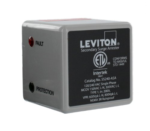 Leviton 55240-ASA 55000 Series LED Indicator and Audible Alarm, Single Phase, 120/240-Volt Type 1 Outdoor Surge Arrester
