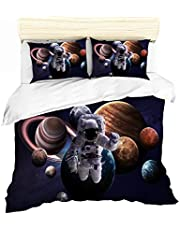 URLINENS 3D Galaxy Space Duvet Cover Set Astronaut Exploring Outer Space with Planets Universe Adventure, Decorative Bedding Set of Duvet Cover and Pillowcase for Kids Teens Boys Girls