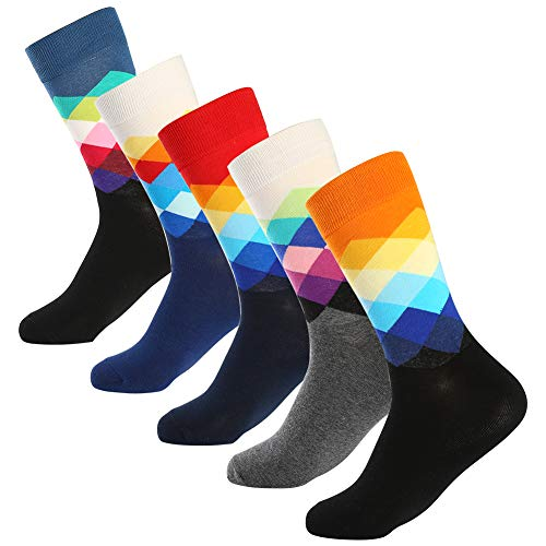 (Bonangel Men's Fun Dress Socks - Colorful Funny Novelty Crazy Crew Socks Pack)